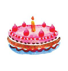 Cake on white background vector