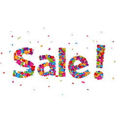Sale sign with colorful confetti background vector