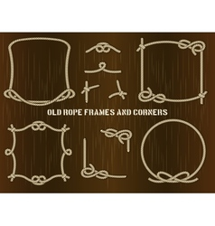 Old rope frames and corners on brown background vector