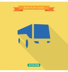 Bus flat style icon set logo vector