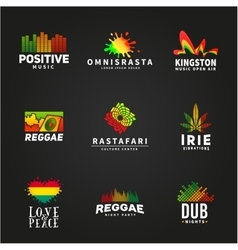 Set of positive africa ephiopia flag logo design vector