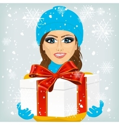 Woman offering a christmas gift vector