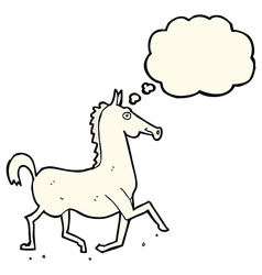 Cartoon horse with thought bubble vector