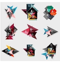 Set of paper design style geometrical banners with vector