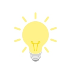 Glowing yellow light bulb icon isometric 3d style vector