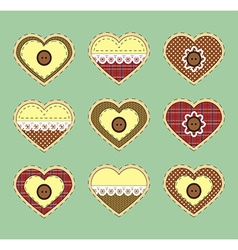 Set of vintage hearts with fabric texture vector