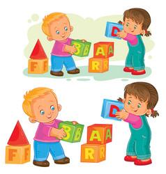 A little girl and boy vector