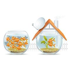 Aquarium home and social housing vector image vector image