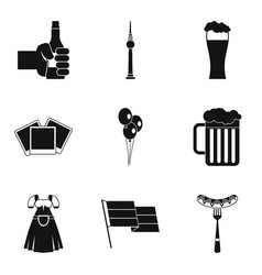 beer party icons set simple style vector image vector image