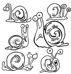 black and white bunch of snails vector image vector image