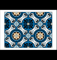 Blue and black tiles vector