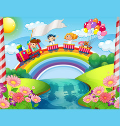 children riding on train over rainbow vector image vector image