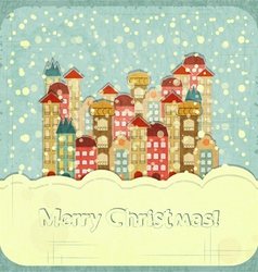 Christmas card - snow and small town vector