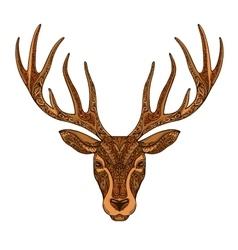 Christmas deer Ethnic patterns Xmas symbol vector image vector image