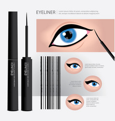 cosmetic eyeliner packaging with types of eye vector image vector image