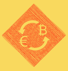 currency exchange sign euro and bitcoin vector image vector image