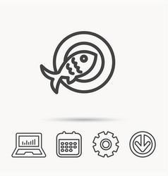 Fish icon seafood sign vegetarian food symbol vector