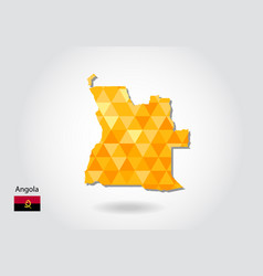 Geometric polygonal style map of angola low poly vector