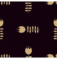 Golden tulip pattern on dark background vector image