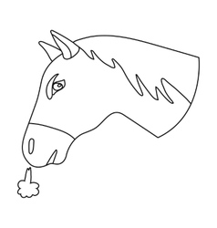 Horse s head icon in outline style isolated on vector