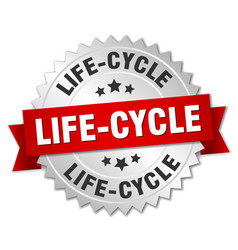 Life-cycle round isolated silver badge vector