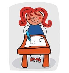 Little Girl Doodling vector image