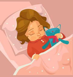 Little smiling baby girl character sleeping vector