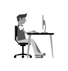 Man sitting using laptop on desk design vector