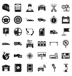 Mechanic auto icons set simple style vector