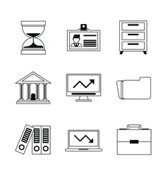 Monochrome silhouette with business portfolio vector
