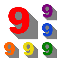 Number 9 sign design template element set of red vector