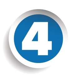 Number four sticker blue vector