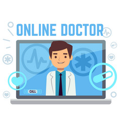 online doctor consultant flat icons vector image vector image