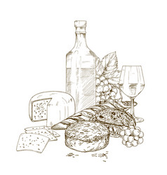 Pile of hand drawn cheese with wine bo vector