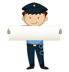 Policeman holding blank paper vector