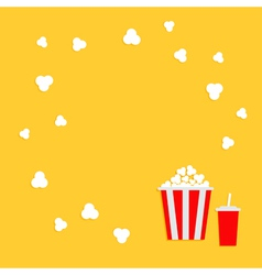 Popcorn round frame cinema icon in flat dsign vector