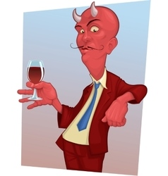 red mustachioed demon with a glass of wine vector image
