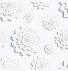 Seamless pattern with gray 3d flower chrysanthemum vector image