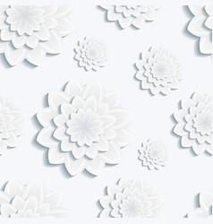 Seamless pattern with gray 3d flower chrysanthemum vector