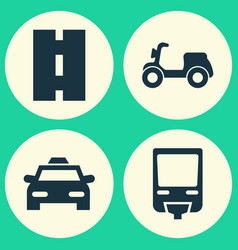 Shipment icons set collection of skooter vector
