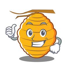 Thumbs up bee hive character cartoon vector