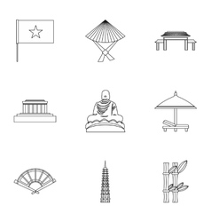 Vietnam icons set outline style vector