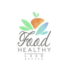 Watercolor logo template with abstract fruit and vector