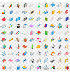 100 education icons set isometric 3d style vector