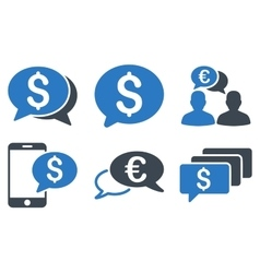 Money message flat icons vector