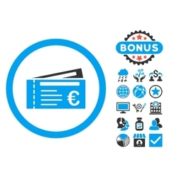 Euro tickets flat icon with bonus vector