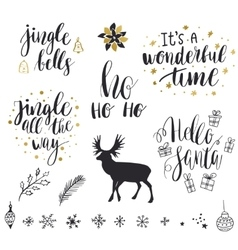Merry Christmas and New Year lettering collection vector image