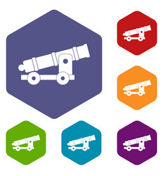 Cannon icons set hexagon vector
