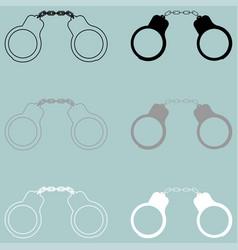 Handcuff black grey white icon vector