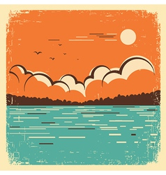 Landscape with blue big lake on old poster vector